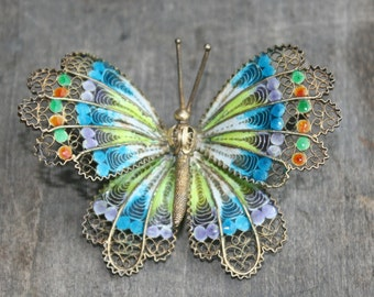 Antique Plique-à-jour  Silver 800 ENAMEL Butterfly Pin BROOCH