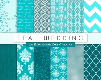 Teal Wedding digital paper, Blue patterns for wedding invite, save the date cards, scrapbooking  Commercial Use floral, lace
