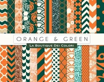 Orange and Green Digital Paper. Digital green and orange paper, Scrapbook patterns, Instant Download for Commercial Use