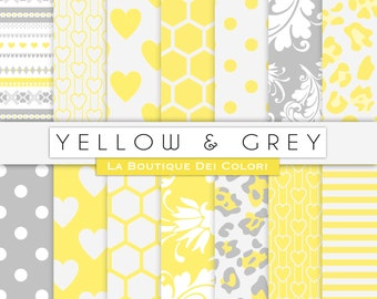 Yellow and gray digital paper. Nursery digital paper pack yellow grey backgrounds new baby patterns for commercial use