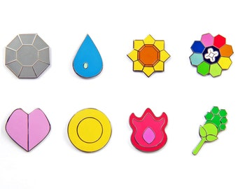 Pokemon Badges Gen 1 - Kanto (Small Version, 1 Inch)