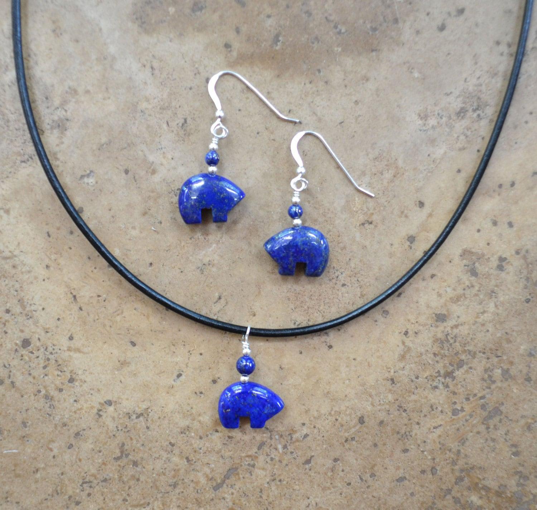 Zuni Earrings: Zuni Fetish Style Lapis Bear Earrings & Necklace SET Beaded