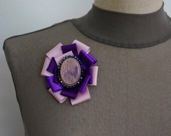 NEW!!! Purple pink Brooch, ribbon brooch, pin brooch, comeo, pink, purple
