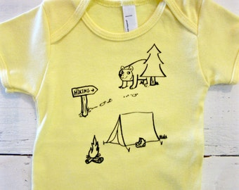 Camping and hiking cute baby bodysuit. American Apparel.