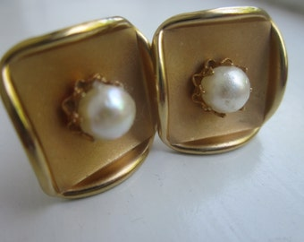 Vintage Genuine Pearl Cufflinks on Satin and Polished Finish Gold Tone.