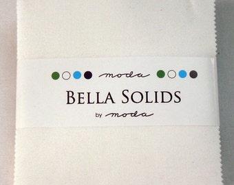 "BELLA SOLIDS Charm Pack in White - (42) 5"" x 5"" Squares - Cotton Quilt Fabric Precuts - Moda Fabrics - 9900PP-98 (W2744)"