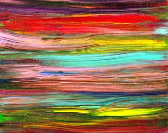 14x11 ORIGINAL Abstract Painting on Canvas with Multi Color Stripes