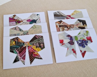 Recycled Magazine Origami Bow Blank Note Cards