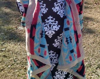 Aztec Sleeveless Sweater Cardigan