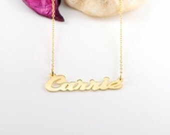 "24K Gold over Sterling Silver Script Name Necklace ""Carrie"" (NP30539-GPSS)"