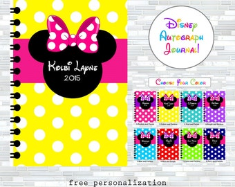 Disney autographs, Disney autograph book, Walt Disney World autographs, autograph journal, Minnie Mouse, Disney gift, keepsake, autographs