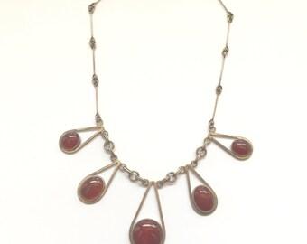 Carnelian Sterling Necklace 1960's