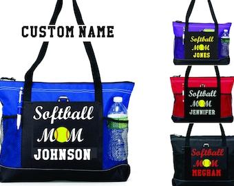 "Player Name 20"" Softball MOM Sports Bag with soft Microfiber or Glitter design"