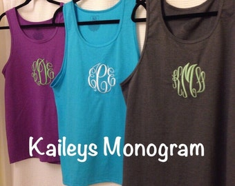 Monogrammed Tank Top Swimsuit Cover Up Monogram Personalized Tee Pool Cover Up