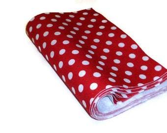 Polka dot felt, printed squares, sewing supplies, thefeltcollector, red and white, dotted fabric, feutre tissu, polka dot fabric, 10 pieces