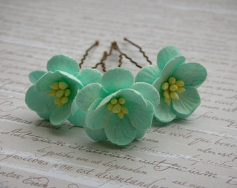 Flower Hair Pins - Pale Green/Mint Cherry Blossom Hair Pins - Mulberry Paper Flowers - Set of 3