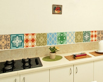 Tile Decals Set Of 15 Tile Stickers Geometric Colors Kitchen Tiles Bathroom Decal