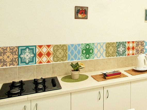 kitchen decals for backsplash tile decals set of 15 tile stickers geometric 19409