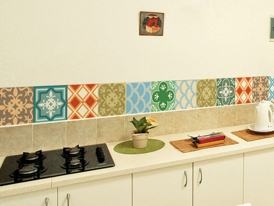 retro kitchen tile stickers tile decals set of 15 tile stickers geometric 4821