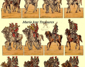 Vintage French Cavalry Soldiers Doll Cut Outs - Digital Download