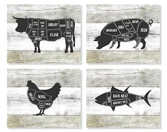 Butcher Chart, Cow, Pig, Chicken, Fish, Kitchen Art Prints, Butcher Diagram, Rustic Decor, Set of 4 Prints, Faux Wood, Kitchen Wall Art