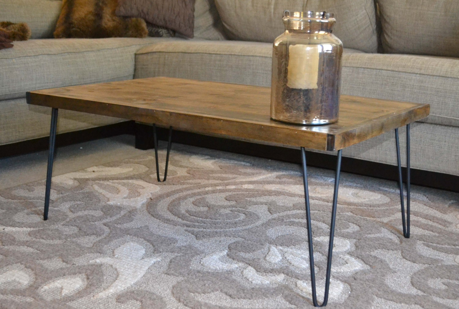 rustic modern coffee table wooden coffee table by mintagedesigns. Black Bedroom Furniture Sets. Home Design Ideas