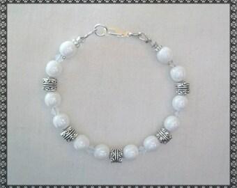 white bracelet, pearl bracelet, silver bracelet