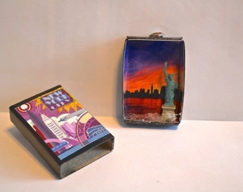 Travel Series Matchbox Art: New York City featuring the Statue of Liberty. I love NY!