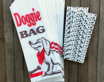 24 Paper Doggie Bags and 50 Pawprint Paper Straws- Dog Treat Bag, Dog Party Supply