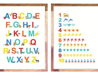 """Alphabet & Numbers Print / Posters 11x14"""" or 12x16"""""""