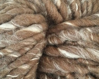 BULK BUY Super bulky yarn, Super chunky handspun yarn , British Shetland Moorit wool and  Silk, Shetland Moorland Silk 0.5Kg or 1Kg,