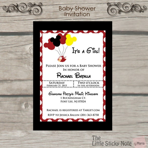 disney baby shower invitations by thelittlestickynote on etsy