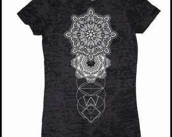 Women's REALMS Mandala Tee Dotwork Sacred Geometry Psychedelic Symmetry Shirt