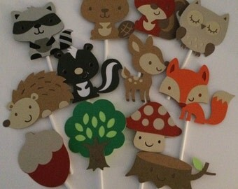 24 Woodland Cupcake Toppers; Forest cupcake toppers
