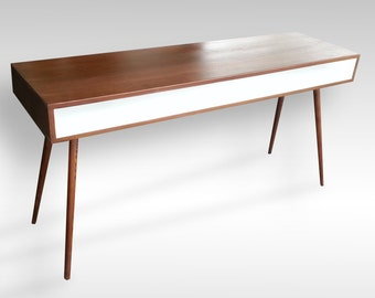 "Mid Century Modern Inspired Desk with White Accent. 36"", 42"", 48"" or 60"" Long"