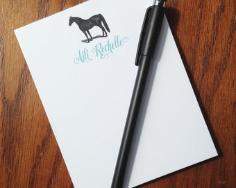 Personalized Horse notepad, Gifts for horse lovers, cotton notepad, personalized memo pad, custom note pad, monogrammed notepad