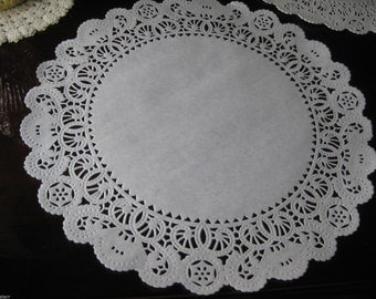 """14"""" inch White Normany LACE scroll stars Paper  Doily 20 Pcs Round Weddings Events Platters decorations"""