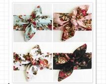 Tie Up Headband Head Wrap Headscarf Pin Up Headbands Tie up Headscarf Vintage rose.