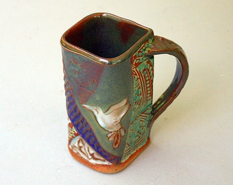 Hummingbird Pottery Mug Coffee Cup Handmade Functional Tableware Microwave and Dishwasher Safe 16 oz