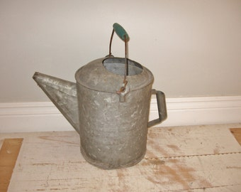 vintage watering can, wooden wire bail handle watering can