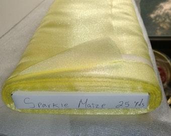 """Sparkle Organza Fabric - Maize, 45"""" x 1 Yard"""