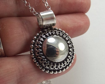 Domed Sterling Pendant with Fancy Gallery Wire Bezel