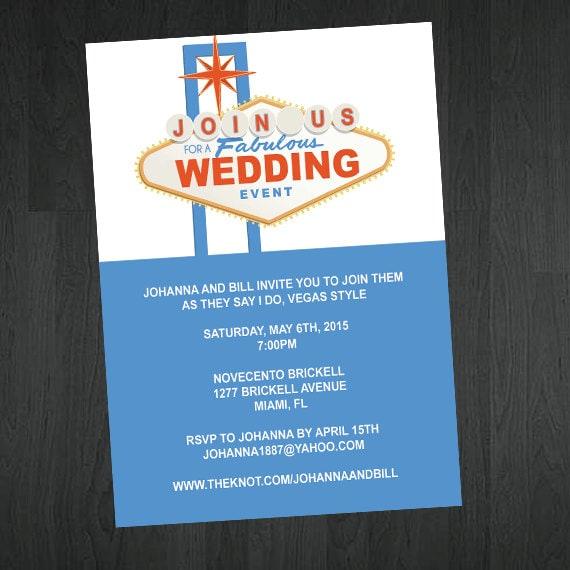 Las vegas themed wedding invitation vegas by memorableimprints for Las vegas themed wedding invitations uk