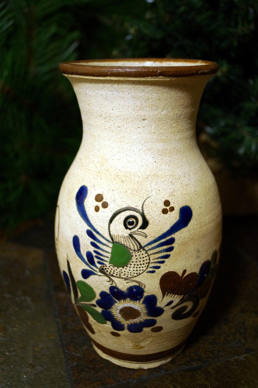 Vintage Mexican VASE Pottery Folk Art Hand Painted CERAMICS