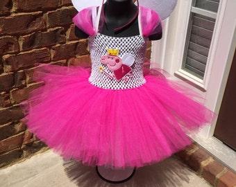 Peppa pig inspired tutu. Peppa tutu. Birthday tutu. Peppa wings. Peppa mask. Peppa tiara. Halloween costume.
