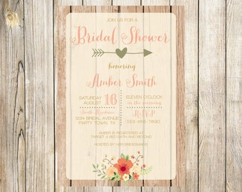Rustic Peach Bridal Shower Invitation