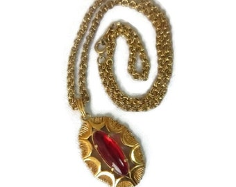 Boho Red Glass Pendant 70s Glam Disco Gold & Glass Necklace Bohemian Jewelry Hippie Chic Gypsy Glam 1970s Fashion Statement Jewelry Gift Her