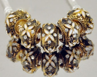 1x Gold and Rhinestone Faberge Beads - Large Hole - Fits European Bracelets and Necklaces - Gold Faberge - Gold Bead - B35