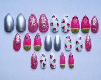 Watermelon fake nails