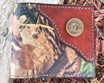 Camo Wallet, RealTree Camo, Leather Wallet, Made in the USA, Shotgun Shell in corner, boyfriend gift, husband gift...Initials Free!